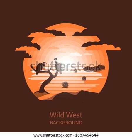 wild west landscapevultures on
