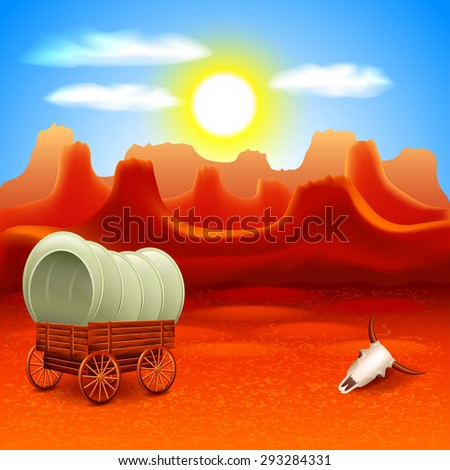 wild west landscape with old