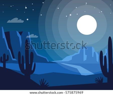 wild west night landscape