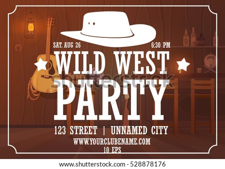 wild west party horizontal poster with cowboy hat