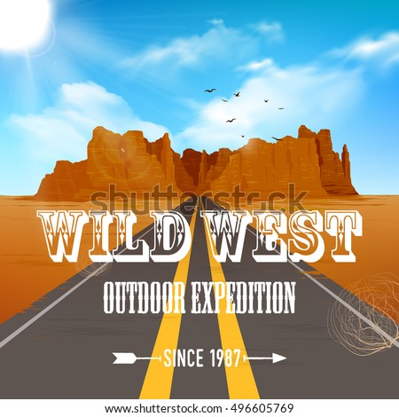 wild west poster of road going