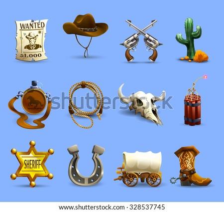wild west realistic icons set