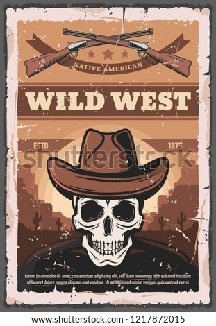 wild west retro poster of skull