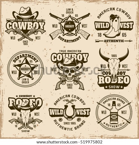 Wild west, sheriff department, cowboy rodeo show set of vector brown emblems, labels, badges and logos in vintage style on dirty background with stains and grunge textures