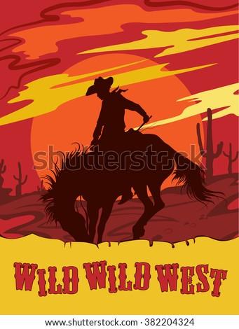 wild west silhouette vector...