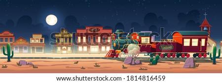 wild west steam train at night
