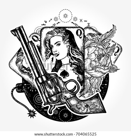 Wild west tattoo and t-shirt design. Revolver, playing cards, beautiful girl, bomb. Casino, criminal background, set of gangster mafia