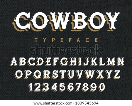 Wild West typeface. Retro alphabet in western style. Serif type letters on a grunge background. Handmade Vintage Font for labels and posters ストックフォト ©