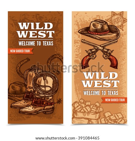 wild west vertical banners with