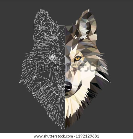 Wild wolf face on grey background, low poly triangular and wireframe vector illustration EPS 10 isolated.  Polygonal style trendy modern logo design. Suitable for printing on a t-shirt.