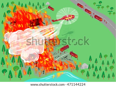 wildfire being put out by