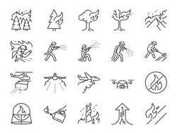 Wildfire line icon set. Included the icons firefighting, firefighter, extinguish, mountain, burning, forest and more.