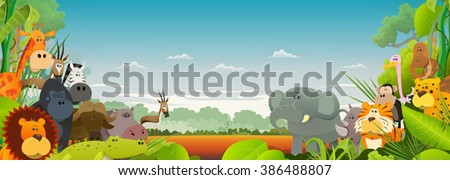 Wildlife African Animals Background/\ Cute cartoon wild animals from african savannah, with lion, gorilla, elephant, giraffe, gazelle, gorilla monkey, hippo, ape and zebra on wide jungle background