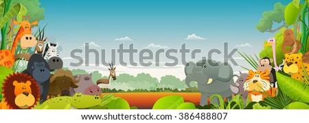 Wildlife African Animals Background/ Cute cartoon wild animals from african savannah, with lion, gorilla, elephant, giraffe, gazelle, gorilla monkey, hippo, ape and zebra on wide jungle background