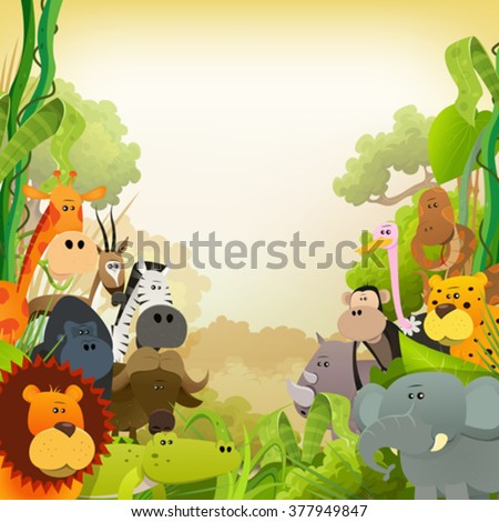 Wildlife African Animals Background/ Illustration of cute cartoon wild animals from african savannah, with lion, gorilla, elephant, giraffe, gazelle, gorilla monkey, ape and zebra on jungle background
