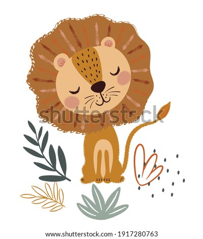 Wildlife animals. Cute lion with simple greens vector illustration. Jungle life clipart vector design.