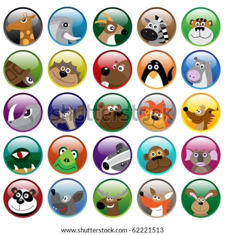 Wildlife animals shiny icon set
