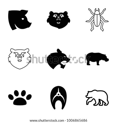 Wildlife icons. set of 9 editable filled and outline wildlife icons such as bear, pig, hippopotamus, paw, fish, panther
