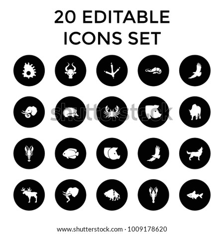 Wildlife icons. set of 20 editable filled wildlife icons such as hedgehog, footprint of  icobird, crab, buffalo, eagle, fish. best quality wildlife elements in trendy style.
