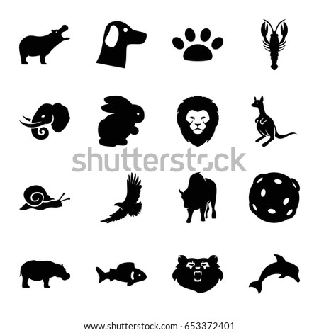 Wildlife icons set. set of 16 wildlife filled icons such as rabbit, fish, bear, lion, hippopotamus, crab, eagle, kangaroo, buffalo, elephant, snail, paw, dolphin