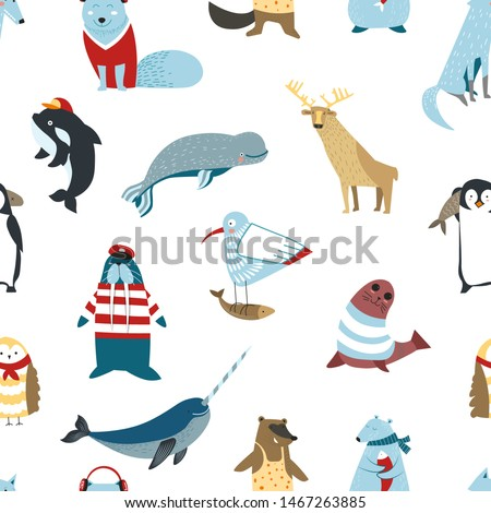Wildlife North animals birds and fish seamless pattern mammals vector reindeer and seal whale and penguin walrus and wolf, endless texture bear and owl gull with fish and narwhal wallpaper print