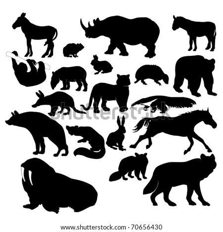 Wildlife silhouettes, Wild animals
