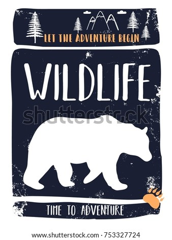 stock-vector-wildlife-slogan-and-bear-silhouette-vector