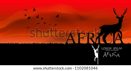 wildlife vector illustration.colorful  South Africa background for card and web. African Wildlife Background. Nature Background. African savanna landscape. safari card. vector. Sky Nature Landscape ,
