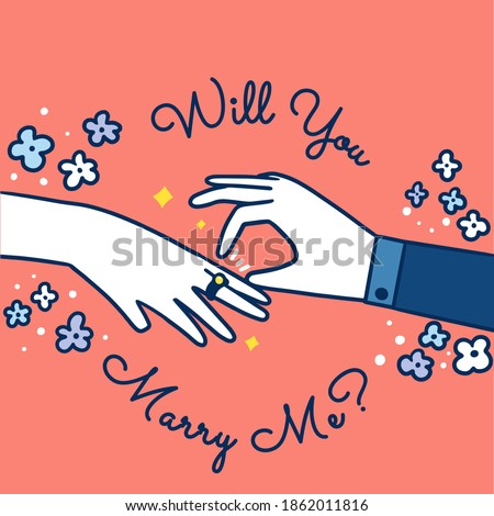 Will You Marry Me Doodle Illustration Premium Vector Сток-фото ©