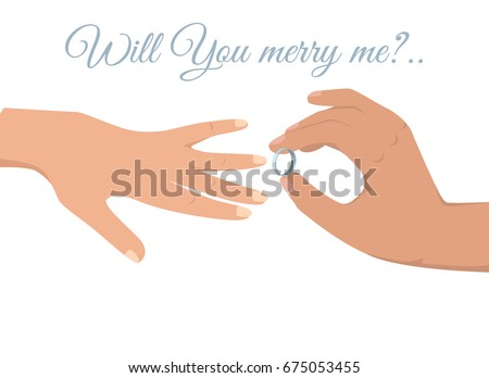 Gold and silver wedding rings download free vector art stock will you marry me sign on white background and mans hand with platinum wedding ring puts junglespirit Images