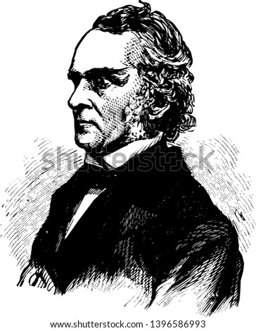 William Alfred Buckingham 1804 to 1875 he was a republican United States senator from Connecticut and governor of Connecticut from 1858 to 1866 vintage line drawing or engraving illustration