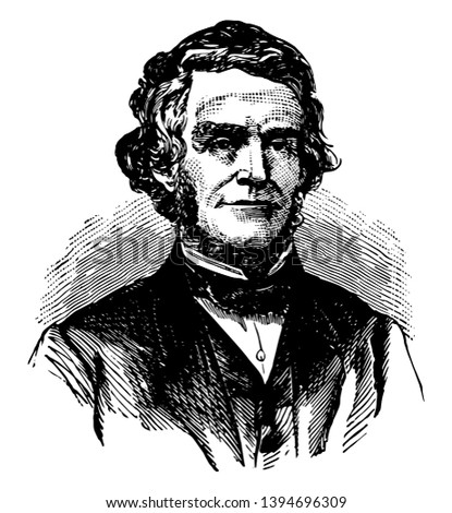 William Dennison 1815 to 1882 he was a Whig and republican politician from Ohio and the 24th governor of Ohio vintage line drawing or engraving illustration