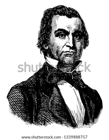 William Lowndes Yancey 1814 to 1863 he was a journalist politician orator diplomat and an American leader of the Southern secession movement vintage line drawing or engraving illustration