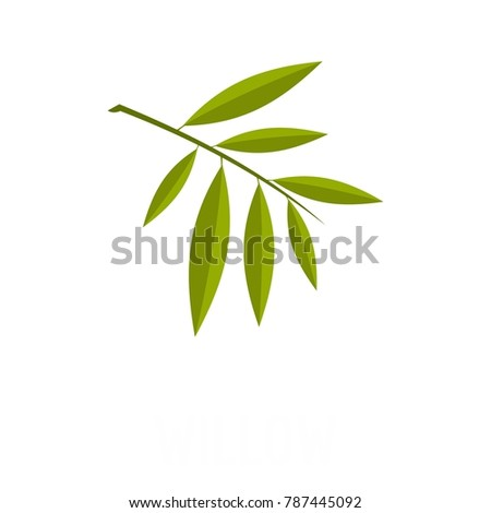 willow leaf icon flat