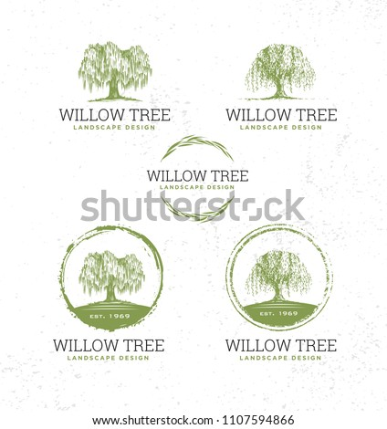 Willow Tree Landscape Design Creative Vector Nature Friendly Sign Concept. Sustainable Eco Illustration On Rough Textured Background.