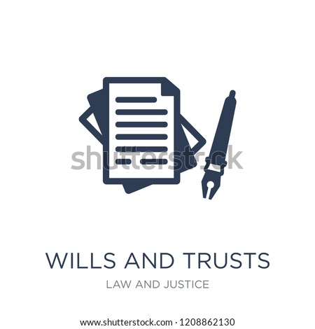 wills and trusts icon. Trendy flat vector wills and trusts icon on white background from law and justice collection, vector illustration can be use for web and mobile, eps10