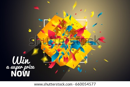 Win a Super Prize now. Surprise Box with colorful confetti explosion on dark background. Prize icon concept. Top view of a yellow Gift Box. Vector illustration