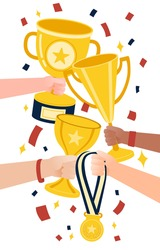 Win achievement. Happy awarding of many trophy prize to their all. Athlete of people teamwork