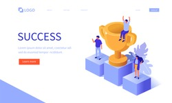 Win and success concept banner. Can use for web banner, infographics, hero images. Flat isometric vector illustration isolated on white background.