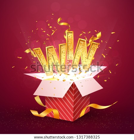 WIN gold text flies out of the red gift box. Isolated open textured red box with confetti explosion inside and golden win word. Flying particles from giftbox vector illustration on red background