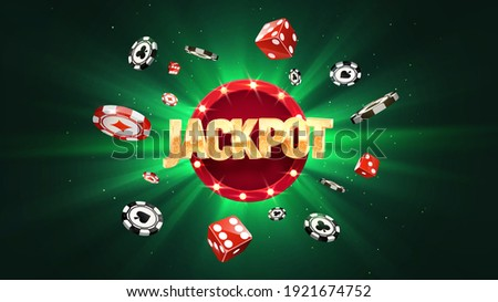 Win jackpot online  casino leisure games vector illustration. Winning in gamble game. Chips and dice falling on green sun burst background
