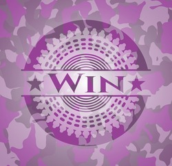 Win pink on camo texture. Vector Illustration. Detailed.