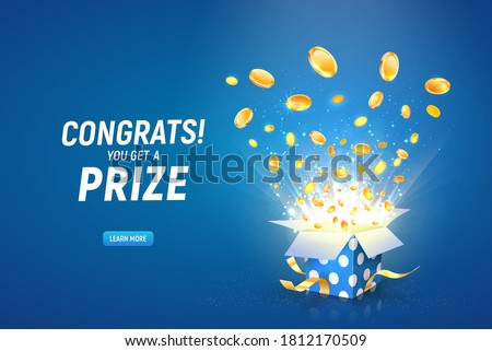 Win prize. Online casino gambling game vector illustration advertising. Open textured gift box with coins explosion out on the blue background.