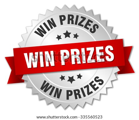 win prizes 3d silver badge with red ribbon. win prizes badge. win prizes. win prizes sign