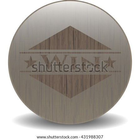 Win retro style wooden emblem