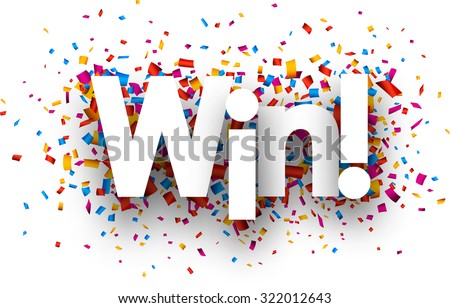 Win sign with colour confetti. Vector paper illustration.