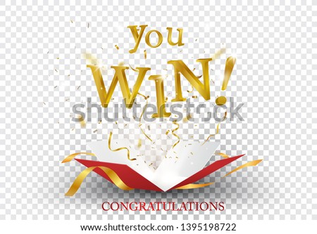 Win text explosion on red box and gold confetti
