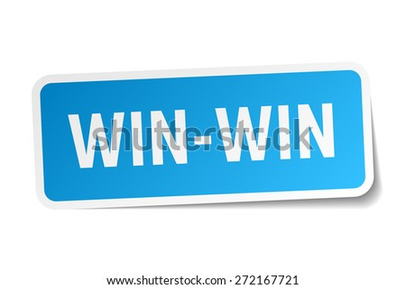 win-win blue square sticker isolated on white