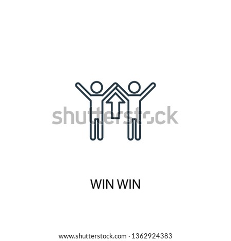 win win concept line icon. Simple element illustration. win win concept outline symbol design. Can be used for web and mobile UI/UX