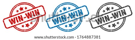 win-win stamp. win-win round isolated sign. win-win label set